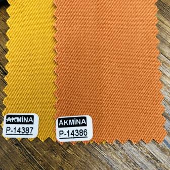 16/12 pamuk gabardin renk : 14387  hardal ve  14386 oranj rengi